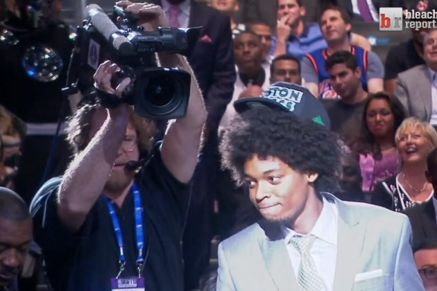 NBA Draft Pick Lucas Nogueira's Hat Doesn't Fit on His Afro