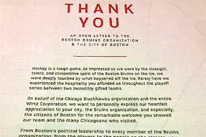 Chicago Blackhawks Tip Their Hats to Boston Bruins Fans with Classy Globe Ad