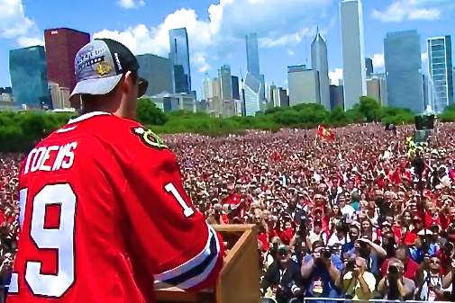 Chicago Blackhawks Celebrate Their Stanley Cup Win in Front of a Sea of Fans