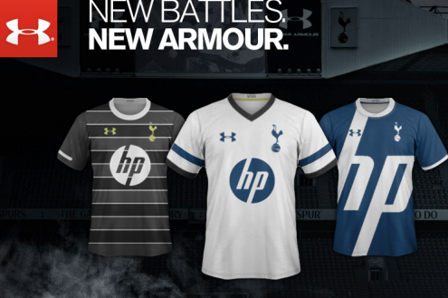 Tottenham Hotspur Home, Away and Third Shirts for 2013-14 Season