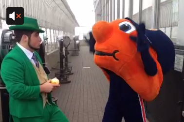 Video: Notre Dame Leprechaun Trolls Syracuse's Otto the Orange
