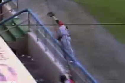 Watch: ATL Minor Leaguer Flips over Dugout to Make Catch