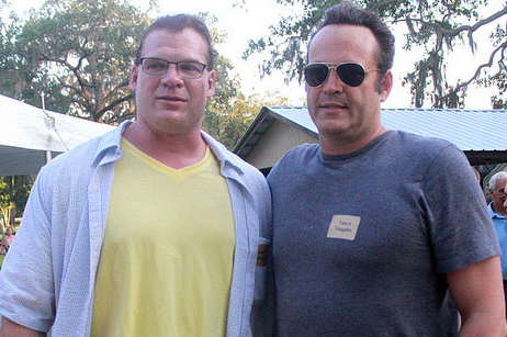 VINCE VAUGHN BBQ'ing with  UNMASKED WWE STAR