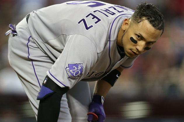 Carlos Gonzalez Forced out of Game with Sprained Middle Finger
