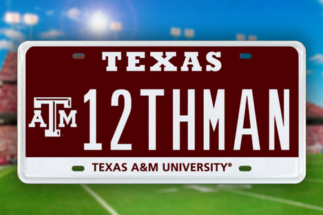 "Texas A&M to Auction off First ""12THMAN"" License Plate"