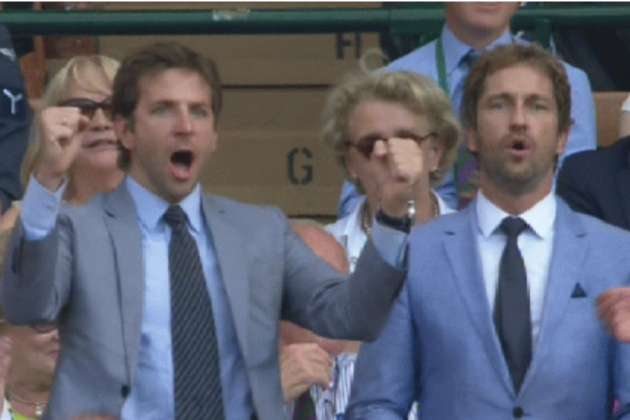 This GIF of Bradley Cooper and Gerard Butler Broing Out at Wimbledon is Amazing