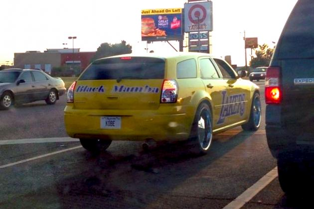 Lakers Fan Trolls OKC Area with Audacious Black Mamba Kobe Car
