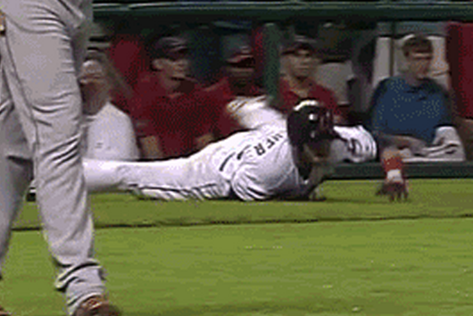 Nick Swisher Embarrassed by Brayan Pena Tag Out, Falls Down Running Bases