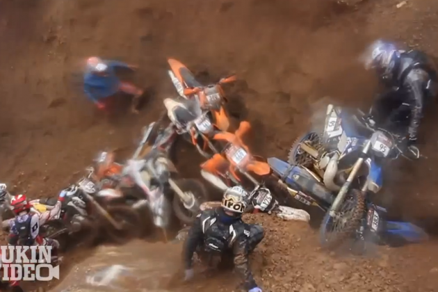 Red Bull Hare Scramble Dirt Bikers Suffer Huge Pile Up at Bottom of Pit