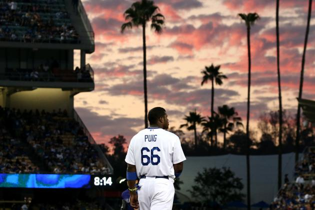 Yasiel Puig Exits Early with Hip Injury