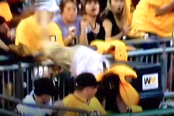 Pittsburgh Pirates Fan Lands on His Face Going for a Foul Ball