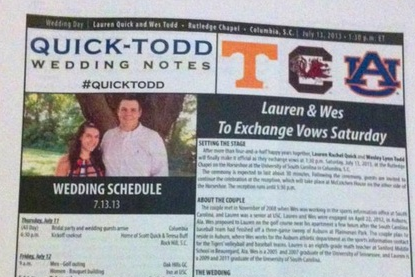 Auburn SID Prints Game Notes for His Wedding
