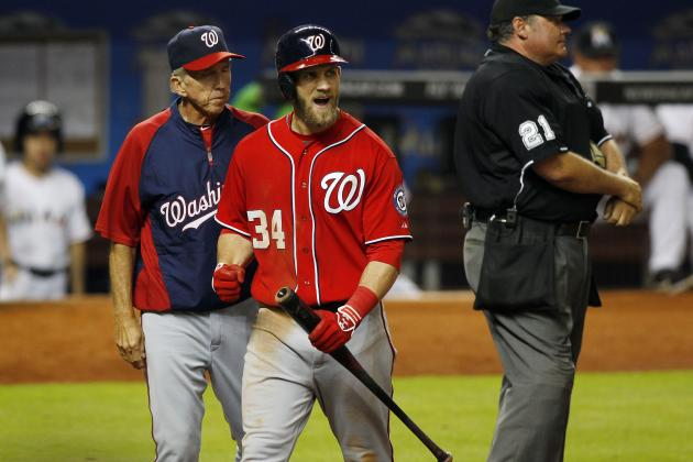 Harper Ejected in 8th Inning of Loss to Miami