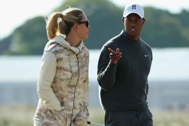 2013 Open Championship: Lindsey Vonn Walks Practice Round with Tiger Woods