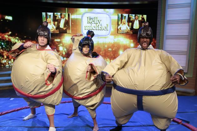 John Cena and Michael Strahan Sumo Wrestle on 'Live with Kelly and Michael'