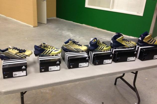 Photo: Notre Dame Unveils 6 New Gold & Blue Adidas Football Cleats