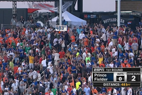 2013 Home Run Derby: Prince Fielder Shot Nearly Leaves Citi Field