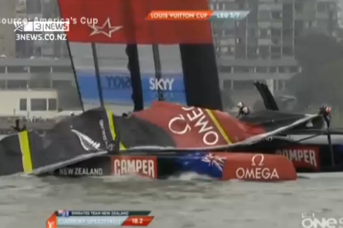 VIDEO: Team New Zealand Sail Breaks During Race, America's Cup 2013