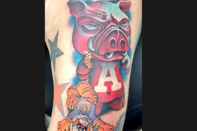 Arkansas Fan Gets Colorful Anti-LSU Tattoo