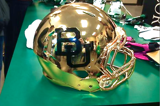 Baylor Football Shows off Gold Chrome Helmets at Media Day