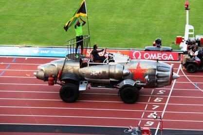 Usain Bolt Driven Around London Olympic Stadium in Arocket
