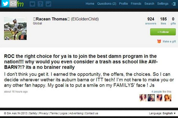 Top Recruit to a Fan Online: 'I'm Not Here to Make You Happy'