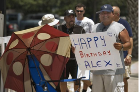 Yankee Fans Held Happy Birthday Signs and Balloons for a-Rod