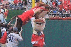 Lincoln Gives Roosevelt Flying Tackle in Washington Nationals' Presidents Race