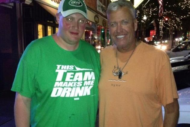 Rex Ryan Poses with Fan Wearing Funny Jets Shirt