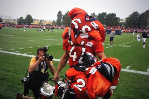 Denver Broncos Rookie Made into a Walking Shoulder Pads Stand