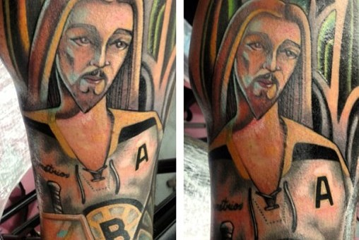 Boston Bruins Fan Gets 'Jesus Saves' Tattoo of Christ as a Goalie