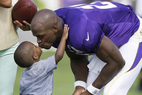 Adrian Peterson's Son Shows Up to Vikings Training Camp to Visit Dad