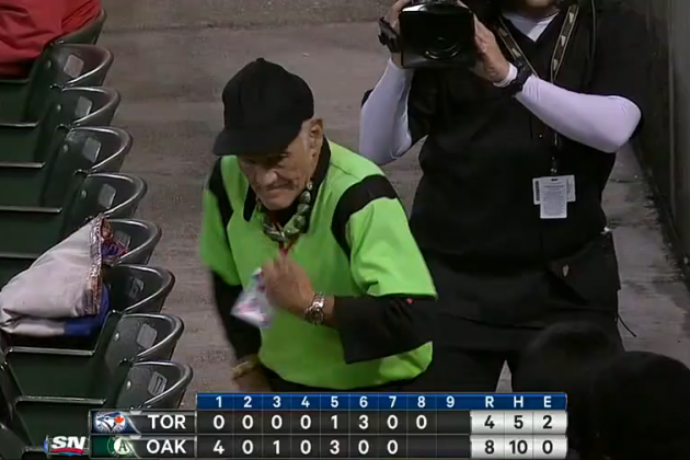 Oakland Athletics Usher Gets Down in the Aisle During Game