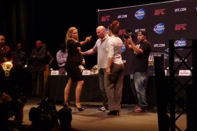 Ronda Rousey Gives Miesha Tate the Finger at UFC World Tour Event in Los Angeles