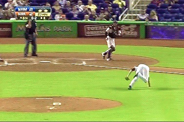 Marlins Relief Pitcher Gets a Little Too Excited in His Celebration and Eats It