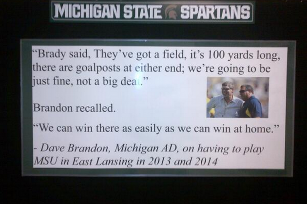 Michigan State's Motivational Sign Adds More Intensity to Michigan Rivalry