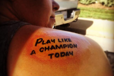 "Photo: Check out This Notre Dame Fan's ""Play Like a Champion Today"" Tattoo"
