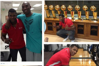 Yasiel Puig Poses with Kobe, 9 Championship Trophies