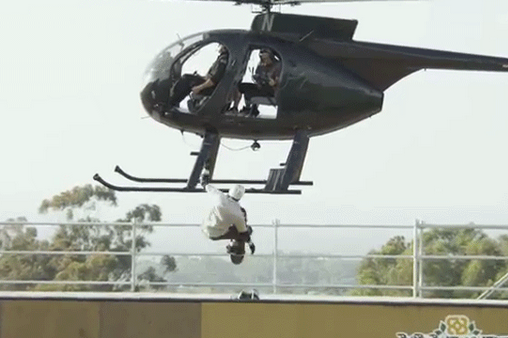 Watch Bob Burnquist Cheat Death, Do Tricks off Helicopter