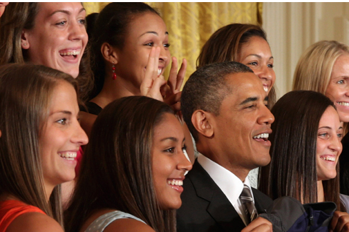 UConn Ladies Basketball Team Gives President Obama 'The Business'