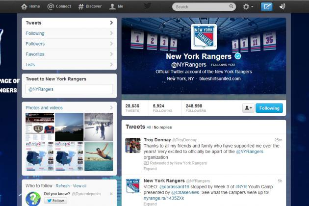 New York Rangers on Twitter: 6 Accounts Every Fan Must Follow in 2013-14