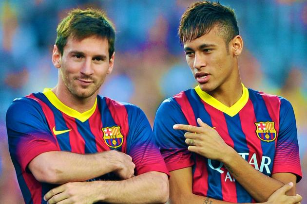 Neymar Makes Camp Nou Debut, Lionel Messi Scores as Barcelona Rout Santos (GIFs)