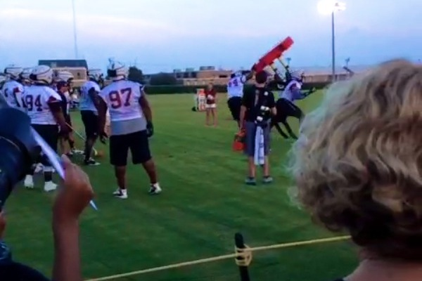 Clowney Overturns Sled at Practice