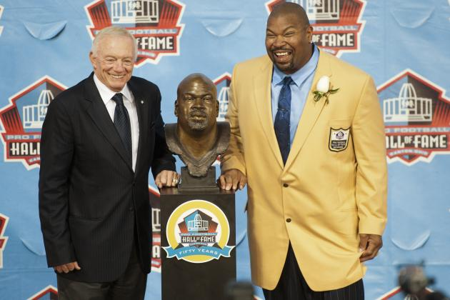 Cowboys' Jerry Jones Honors Larry Allen in Hall of Fame 2013 Enshrinement Speech