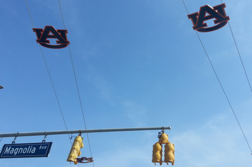 Photo: Auburn Is Putting Up Toomer's Triangle Wires