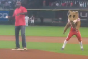 Carl Lewis Airmails First Pitch at Astros Game (video)