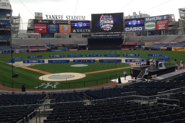 Photo: Hockey Rink Laid Out on Yankee Stadium Infield