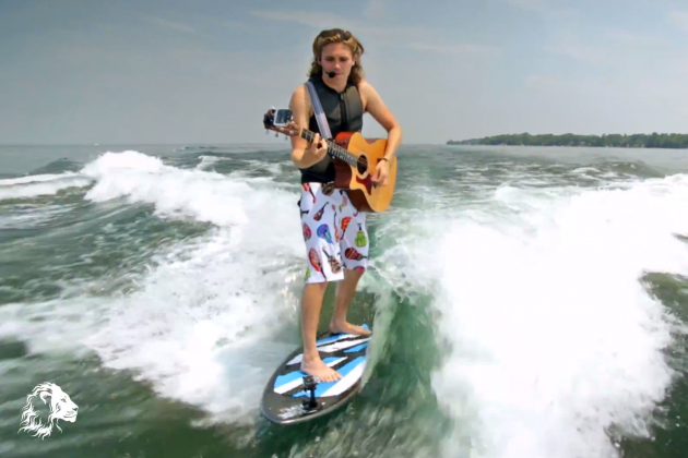 Guy Surfs, Parasails All While Playing Guitar