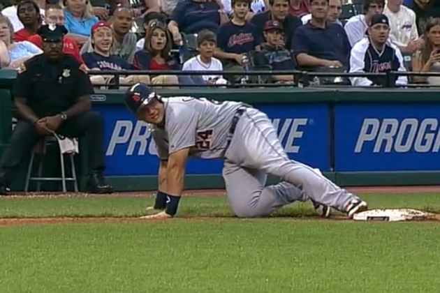 Miguel Cabrera Not so Gracefully Trips over Third Base