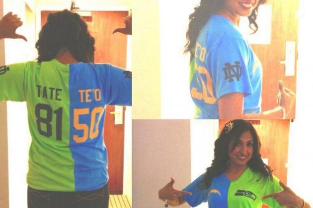 Photos: Fan Wears Custom Te'o/Tate Jersey to Tonight's NFL Game
